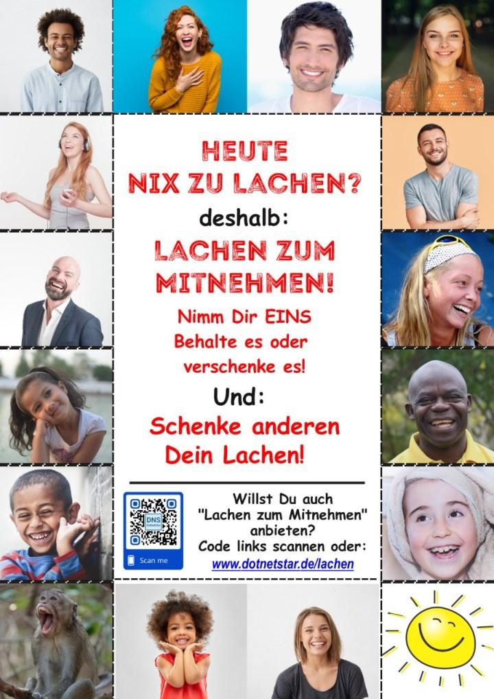 """Abriss-Plakat """"Lachen zum Mitnehmen"""" mit 14 Bildern und einem Downloadlink"""