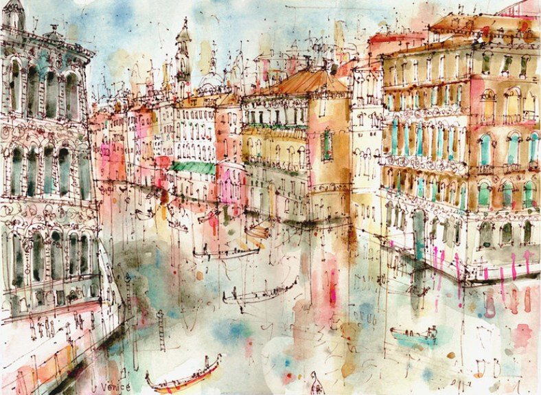 View from Accademiy Bridge Venice by Clare Caulfield