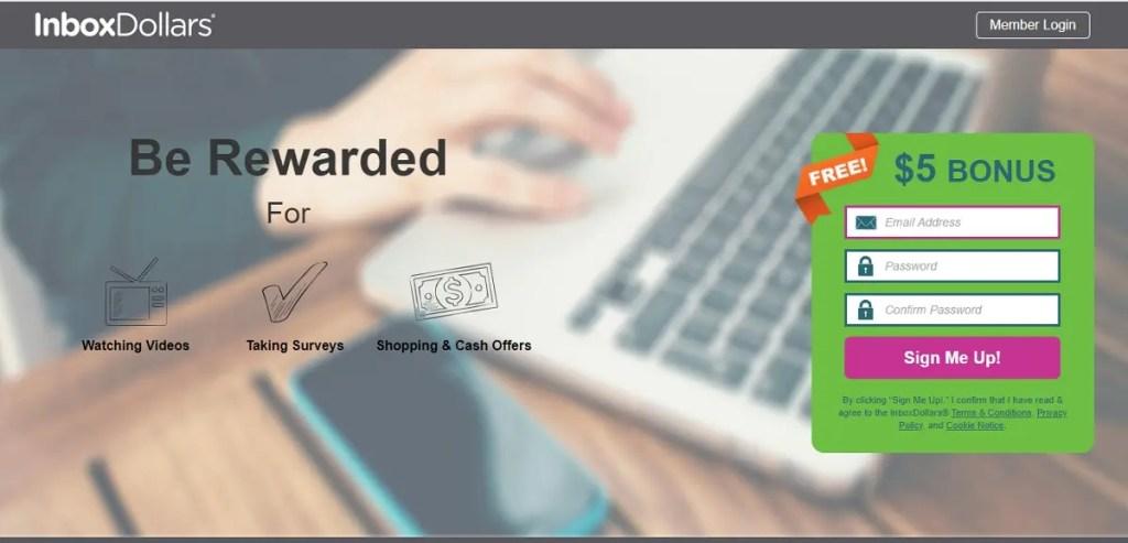InboxDollars: Ganar dinero por realizar búsquedas con 5 dólares de regalo.