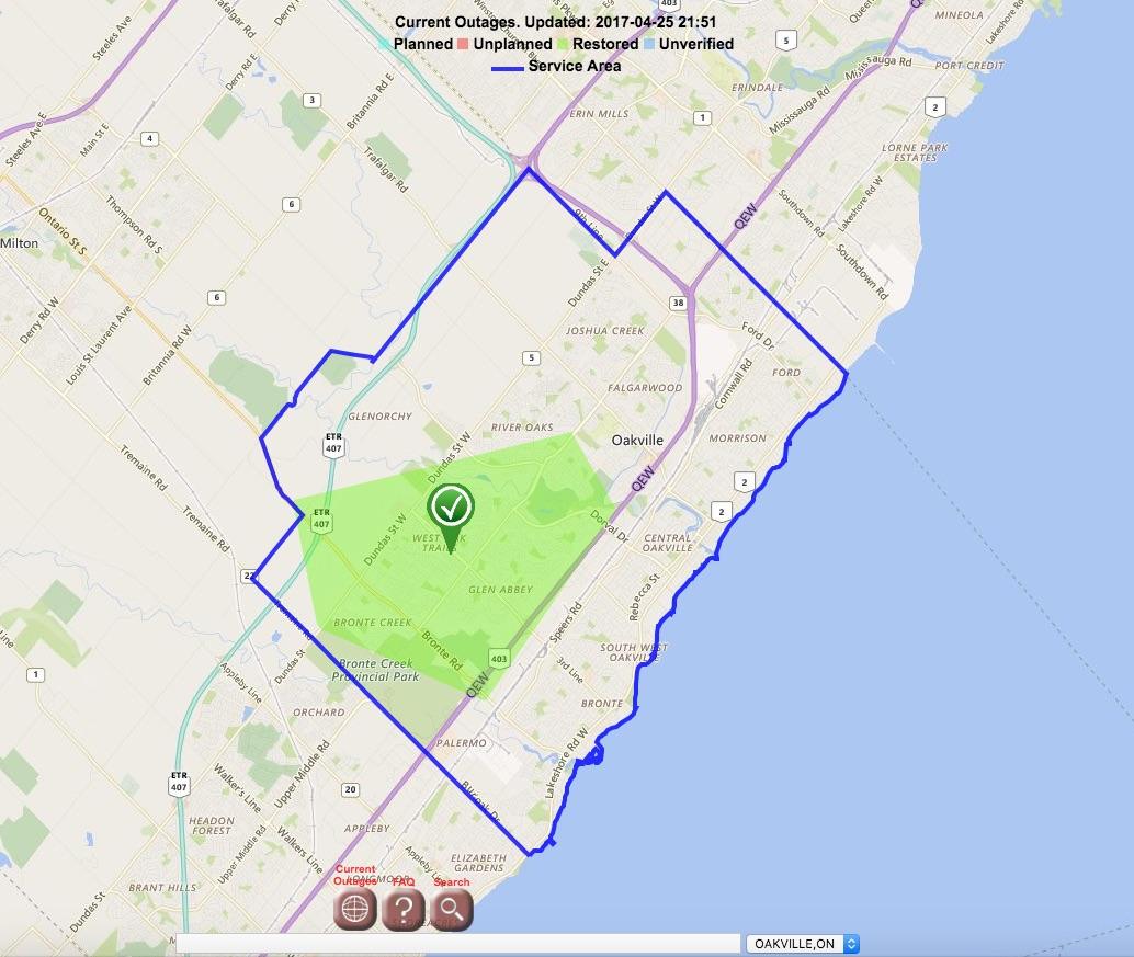 OakvilleHydro map