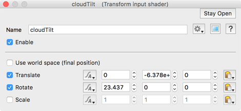 Transform cloud tilt