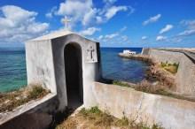 Um dos 4 baluartes que fazem parte da fortaleza e a Capela da Nossa Senhora do Baluarte ao fundo.