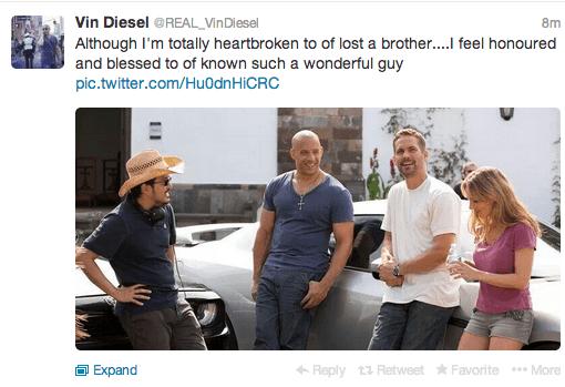 Vin Diesel tweet