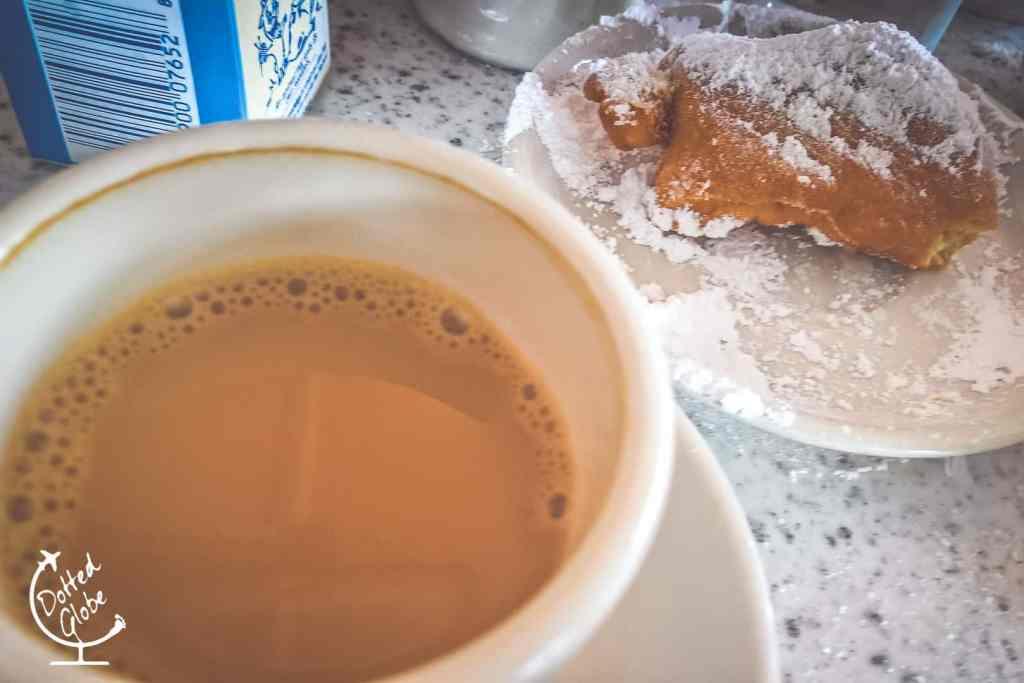 Cafe Du Monde's famous beignets and cafe au lait.