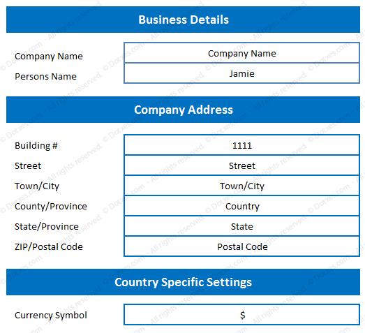 Receipt Book Format Setting Sheet