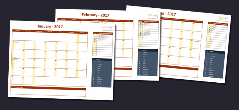 2017 Calendar Template with Holidays