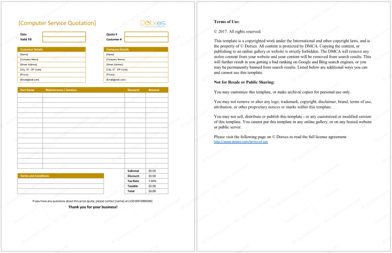 Computer Service Quotation Template