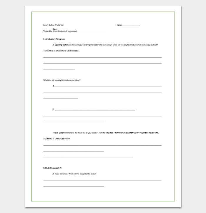 Blank Informative Essay Outline Template