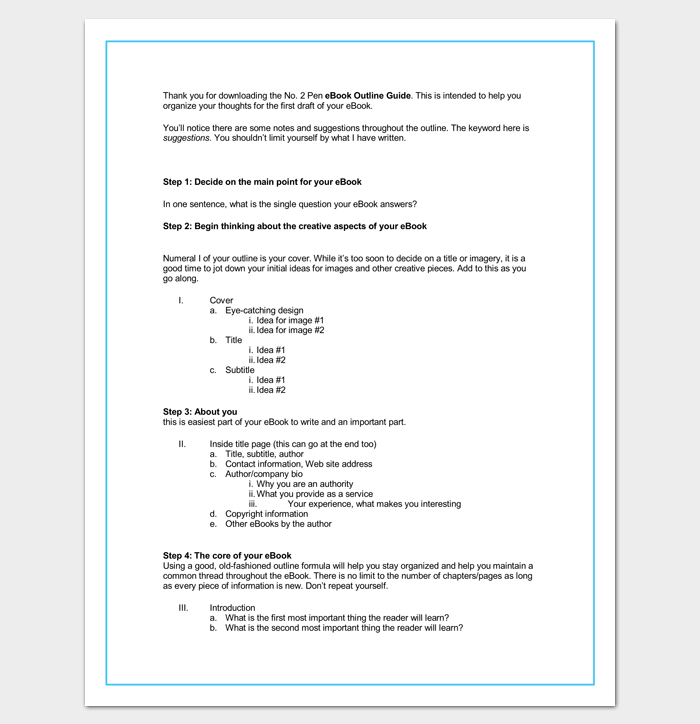 Blank eBlank Outline Format