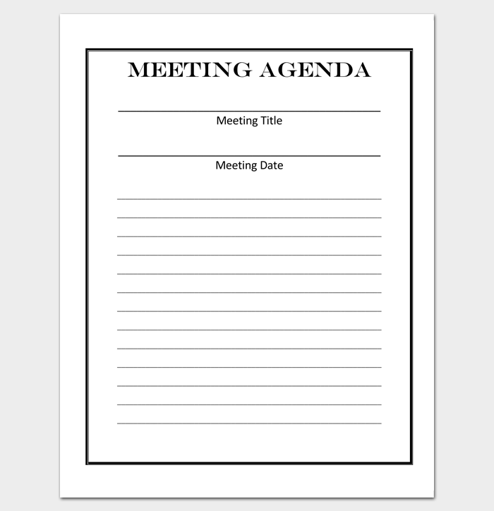 Blank Meeting Agenda Form Template