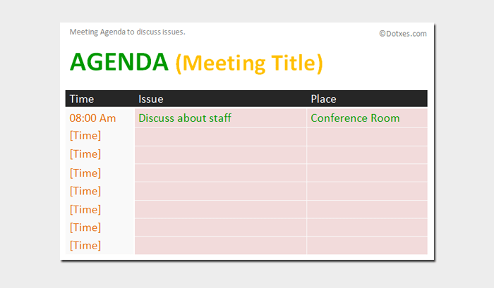 Issue meeting agenda