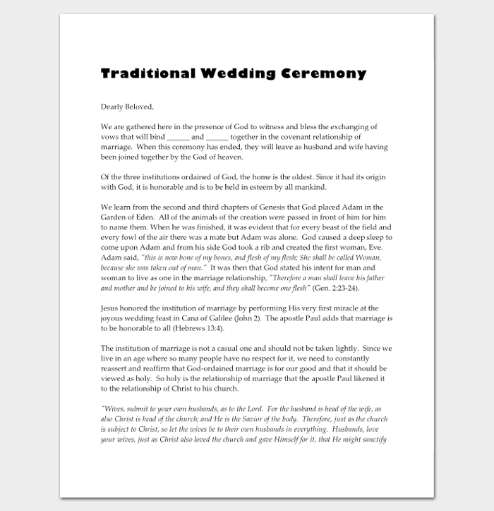 Traditional Wedding Ceremony Outline