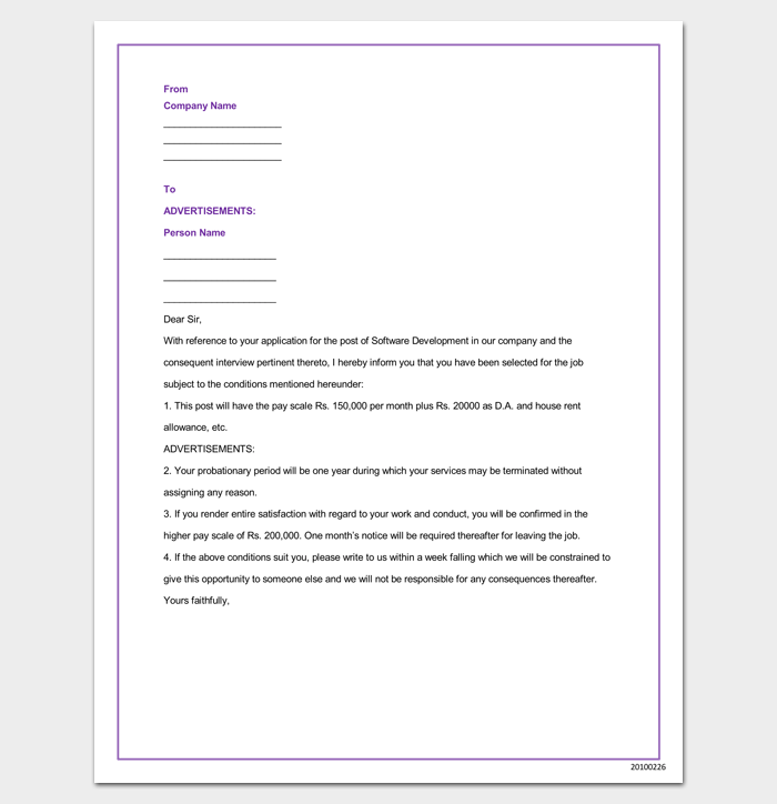IT Company Appointment Letter in Word