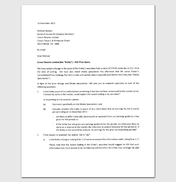 Query Response Letter 1