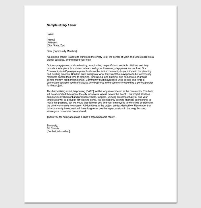 Sample Query Letter in PDF 1