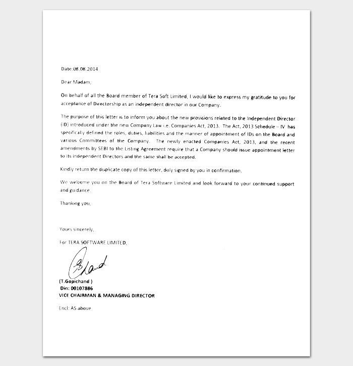 Software Company Appointment Letter Sample 1