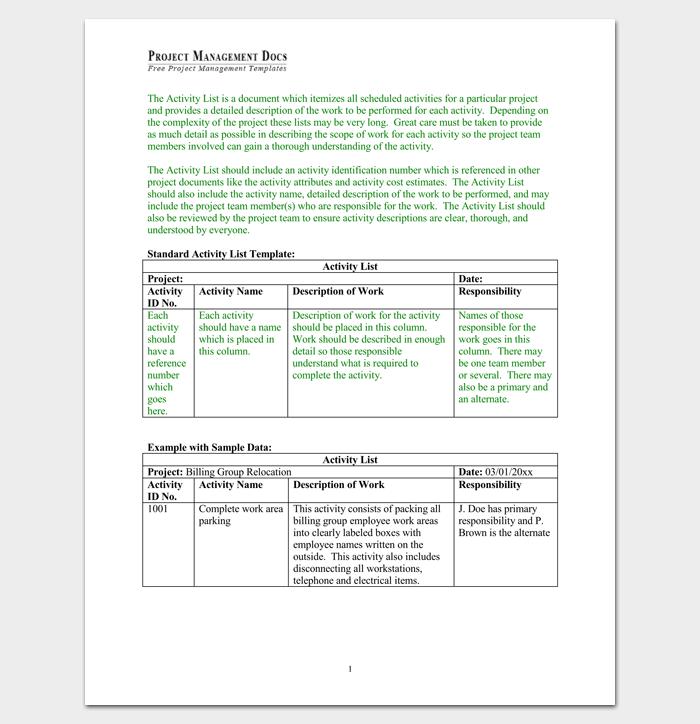 Project Activity List 1