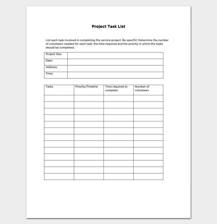 Project Management Task List 1