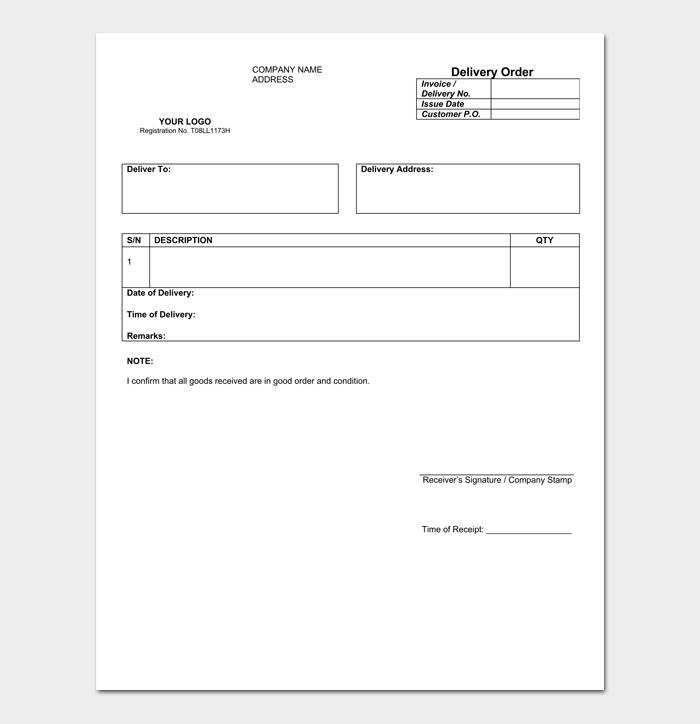 Goods Delivery Order Form 1