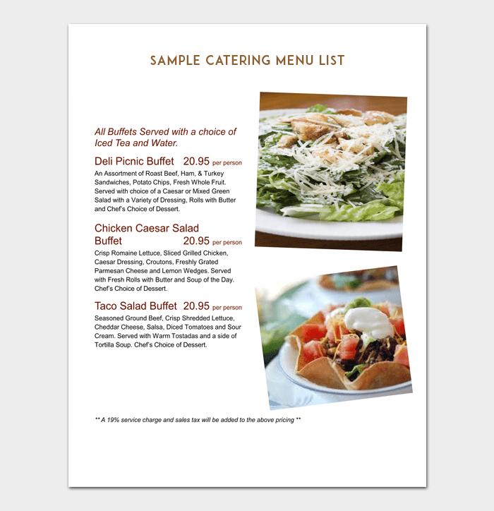 Sample Catering Menu List 1