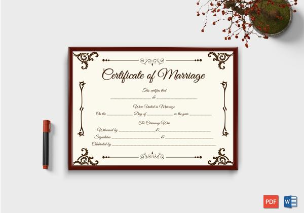 Keepsake Marriage Certificate Template (Format 4)