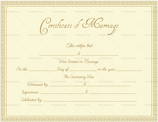 Editable Formal Marriage Certificate