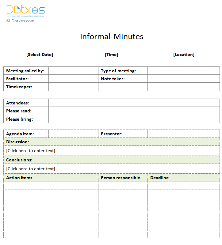 Informal Meeting Minutes Template (Form)