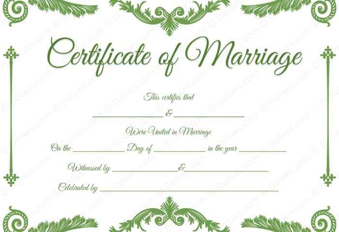 Royal Corner Marriage Certificate Template plus PDF