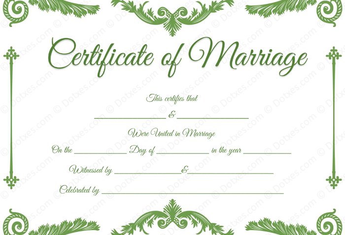 Royal Corner Marriage Certificate Template plus PDF