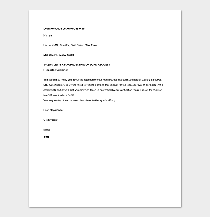 Bank Loan Request Rejection