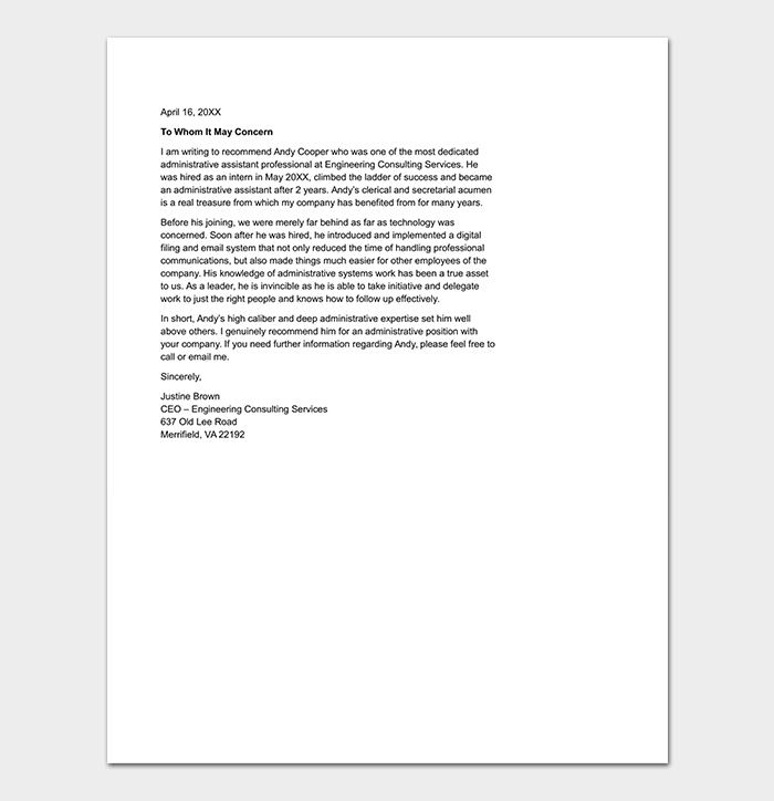 Character Reference Letter for Administrative Assistant