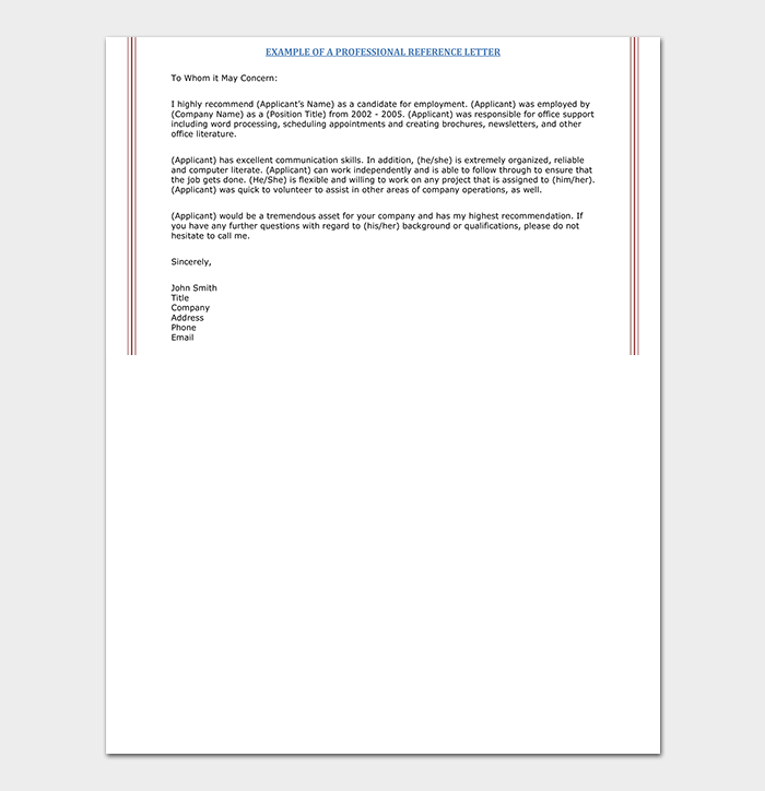 PDF Sample Reference Letter Template