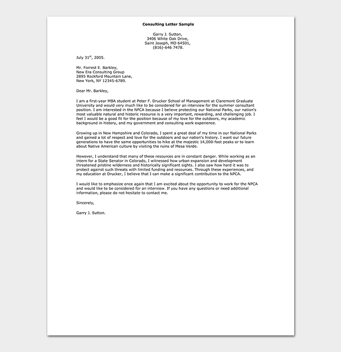 Consulting Cover Letter Example