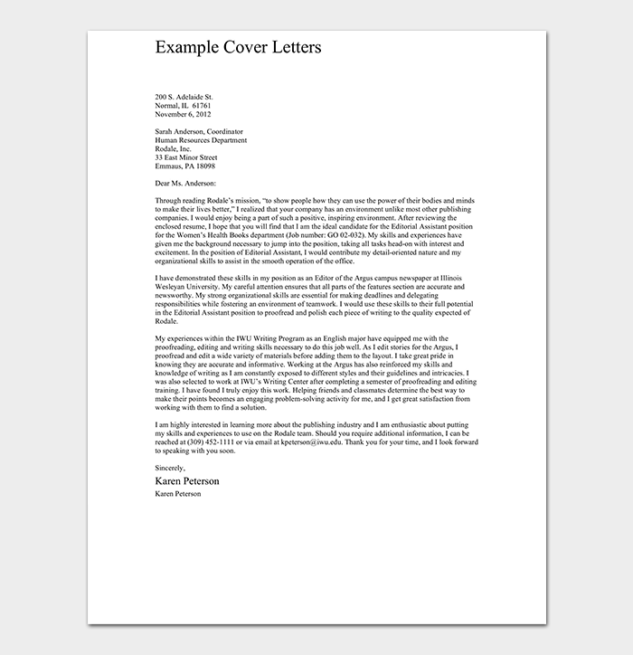 Editorial Assistant Cover Letter Sample