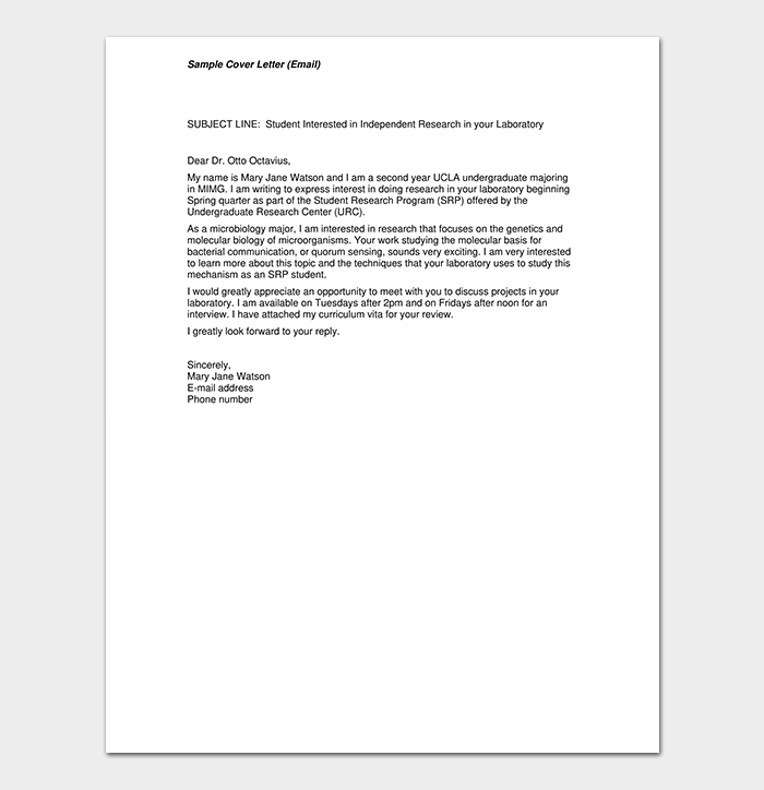 Email Cover Letter