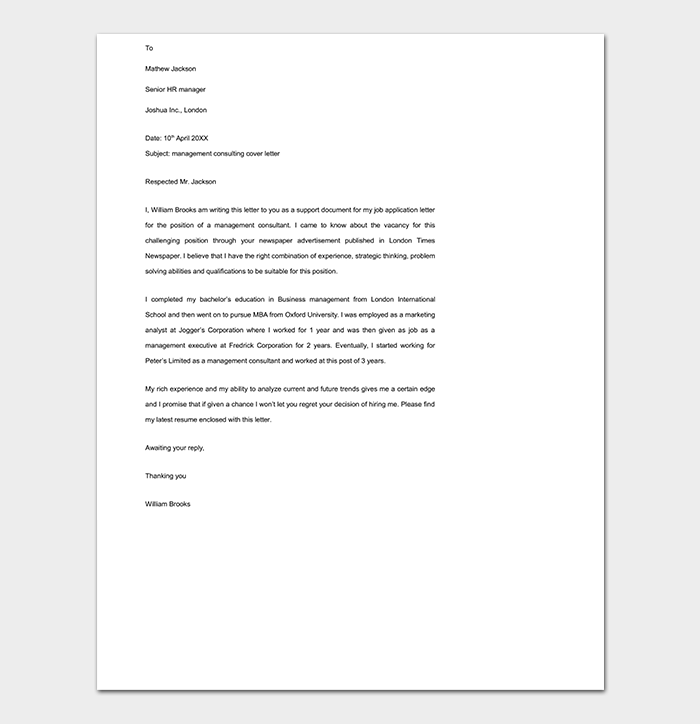 Management Consulting Cover Letter