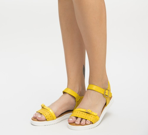 sandale galbene fara toc