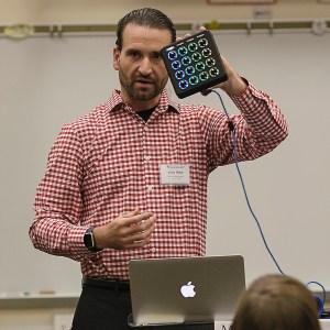 Jason demonstrates the MIDI Fighter at the 2015 Illinois ASTA Teacher Enrichment Workshop