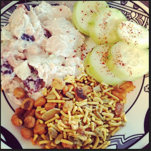 Diet to Go Waldorf Chicken Salad with yummy crunchy chickpea sncks and cucumber slices!