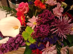 A collection of flowers from friends and family