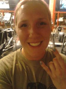 April after running a mile without stopping!
