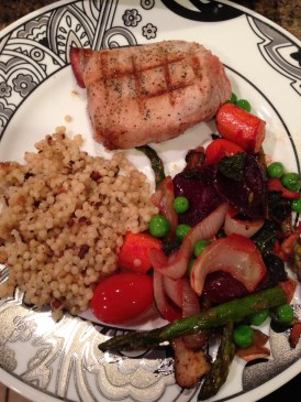 israeli cous cous grilled pork chop roasted beets