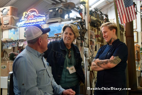 Farmer Randy, Jan, the VP of Marketing for California Avocado Commission, and Chef Pink of Bacon and Brine share a laugh in Randy's barn