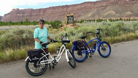 Mary and the bikes in Moab, Utah