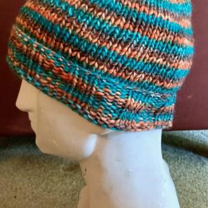 Colorful Hat - Aqua Orange and Brown Large 02