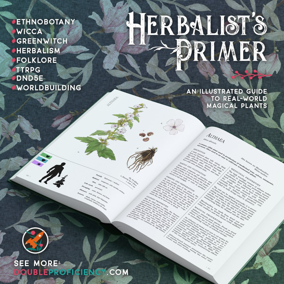 A 3D mockup of Herbalist's Primer book, open on the entry about marshmallows