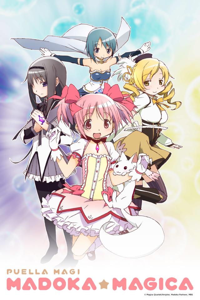 Puella Magi Madoka★Magica Cover Art featuring Madoka, Mami, Sayaka, Homura, and Kyubey