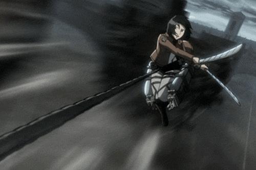 Mikasa Ackerman killing a Titan from the anime Attack on Titan