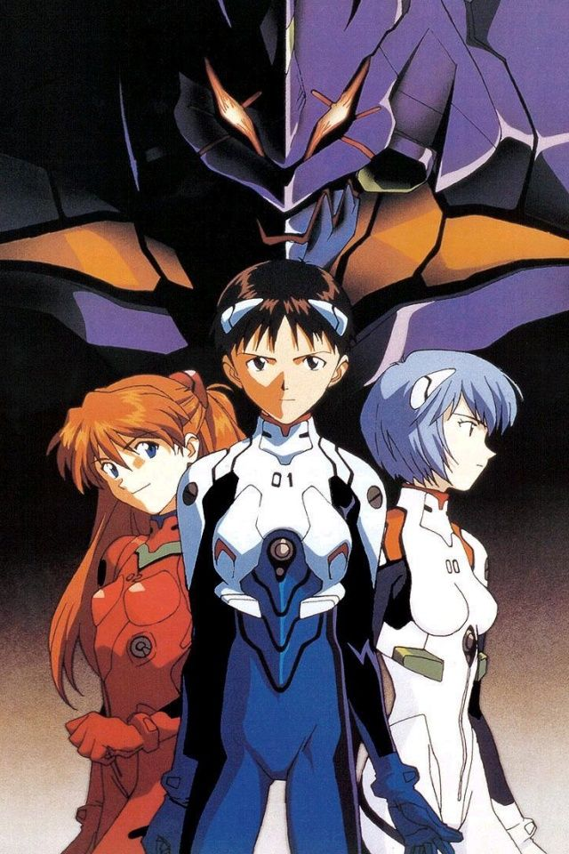 Neon Genesis Evangelion anime poster featuring Asuka, Shinji, and Rei