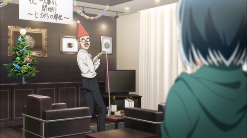 Hina catches Nitta celebrating that she's leaving (from the anime Hinamatsuri)